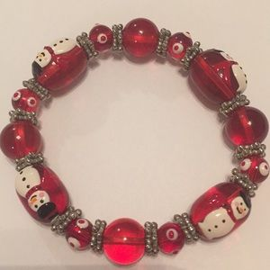 Vintage Christmas Snowman Red and Silver Bracelet